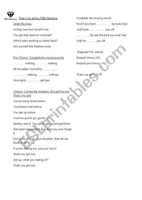 That´s my girl by Fifth Harmony - ESL worksheet by Sol22