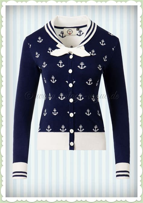 Banned 50er Jahre Vintage Pin Up Anker Cardigan - Small