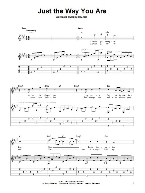 Just The Way You Are Guitar Tab by Billy Joel (Guitar Tab